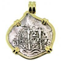 #8661 King Charles II Spanish 2 Reales Pendant