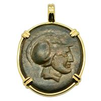 Greek Syracuse 212-180 BC, Ares and Nike bronze coin in 14k gold pendant.