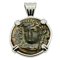 Greek 380-337 BC, Nymph Larissa and Horse bronze dichalkon in 14k white gold pendant.