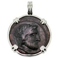 SOLD #8730 Poseidon & Horseman Dichalkon Pendant; Please Explore Our Greek Pendants For Similar Items.