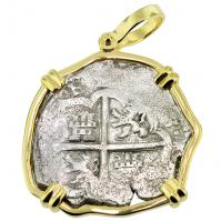 Spanish 4 reales 1612-1620 in 14k gold pendant, 1622 Portuguese Shipwreck, Mozambique, Africa.