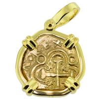 SOLD Spanish 1715 Fleet Shipwreck Doubloon Pendant; Please Explore Our Gold Coin Pendants For Similar Items.