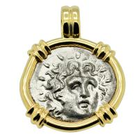 Greek 88-43 BC, Sun God Helios and and Rose drachm in 14k gold pendant.