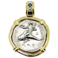 SOLD #8795 Boy on Dolphin Nomos Pendant; Please Explore Our Greek Pendants For Similar Items.