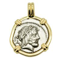 Roman Republic 80 BC, King and Queen of the Gods denarius in 14k gold pendant.