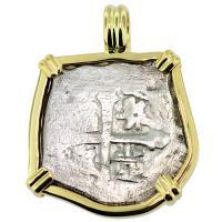 #8813 Spanish 1715 Fleet Shipwreck 2 Reales Pendant