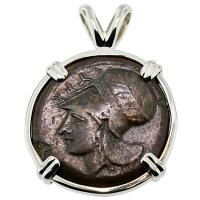 SOLD #8831 Athena & Hippocamp Litra Pendant; Please Explore Our Greek Pendants For Similar Items.