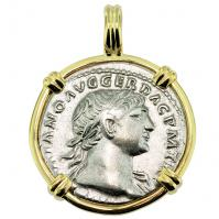 Emperor Trajan and Aequitas Denarius Pendant