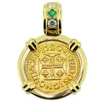 SOLD #8857 Portuguese 400 Reis Pendant; Please Explore Our Gold Coin Pendants For Similar Items.
