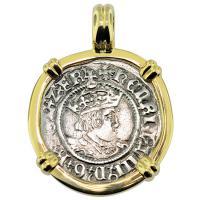 SOLD King Henry VIII Half Groat Pendant; Please Explore Our European Pendants For Similar Items.