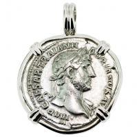 SOLD Emperor Hadrian Denarius Pendant; ; Please Explore Our Roman Pendants For Similar Items.