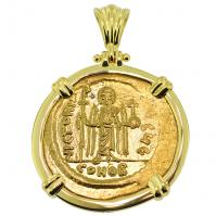 SOLD Angel & Phocas Solidus Pendant; Please Explore Our Byzantine Category For Similar Items.