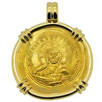 Byzantine AD 1042-1055, Jesus Christ and Constantine IX gold nomisma in 18k gold pendant.