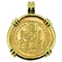 SOLD #8913 Jesus Christ Nomisma Pendant; Please Explore Our Gold Coin Pendants For Similar Items.