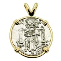 Venice 1275 - 1339, Jesus Christ & Saint Mark grosso in 14k gold pendant.