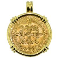 SOLD #8918 French King Francis I Ecu Pendant; Please Explore Our Gold Coin Pendants For Similar Items.