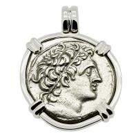 Greek-Egyptian 74-73 BC, Ptolemy 1st tetradrachm in 14k white gold pendant, Mediterranean Sea shipwreck.