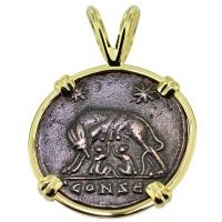 SOLD #8961 She Wolf & Roma Nummus Pendant; Please Explore Our Roman Pendants For Similar Items.