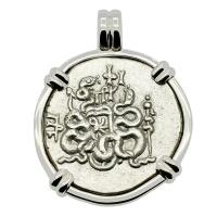 Greek 166-98 BC, Cista Mystica and Serpents Tetradrachm in 14k white gold Pendant.