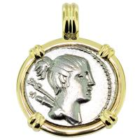 SOLD #8981 Diana Denarius Pendant; Please Explore Our Roman Pendants For Similar Items.