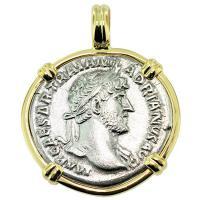 #8982 Emperor Hadrian Denarius Pendant