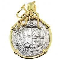 #8991 Golden Fleece Shipwreck 2 Reales Pendant