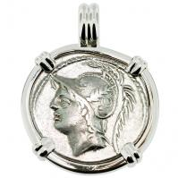SOLD Mars Denarius Pendant. Please Explore Our Roman Pendants For Similar Items.