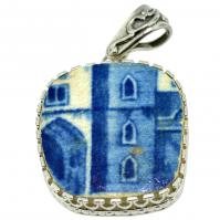 British Pottery Artifact in silver pendant, (1775 - 1815) Eastern Caribbean Sea Shipwreck.