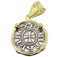 SOLD #9025 Crusader Cross Denaro Pendant; Please Explore Our Medieval Pendants For Similar Items.