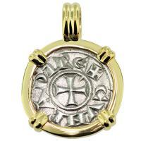#9026 Crusader Cross Denaro Pendant