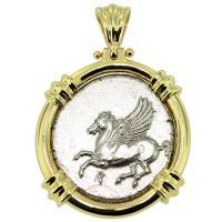 SOLD #9046 Pegasus & Athena Stater Pendant; Please Explore Our Greek Pendants For Similar Items.