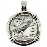 #9048 Owl and Athena Tetradrachm Pendant