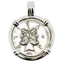 SOLD #9051 Janus & Roma Denarius Pendant; Please Explore Our Roman Pendants For Similar Items.
