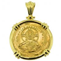 SOLD Jesus Christ Nomisma Pendant; Please Explore Our Gold Coin Pendants For Similar Items.