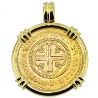 SOLD Portuguese 2000 Reis Pendant; Please Explore Our Gold Coin Pendants For Similar Items.
