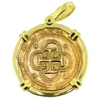SOLD #9060 Philip II Two Escudo Doubloon Pendant; Please Explore Our Gold Coin Pendants For Similar Items.