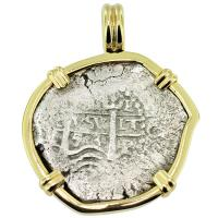 SOLD #9070 Maravillas Shipwreck 2 Reales Pendant; Please Explore Our Spanish Shipwreck Pendants For Similar Items.