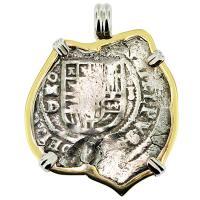 SOLD #9071 Atocha Shipwreck 2 Reales Pendant; Please Explore Our Spanish Shipwreck Pendants For Similar Items.