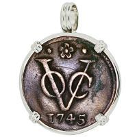 SOLD #9101 Dutch VOC Duit Pendant; Please Explore Our Colonial European Pendants For Similar Items.