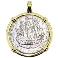 SOLD #9102 Dutch 6 Stuivers Pendant; Please Explore Our Colonial European Pendants For Similar Items.