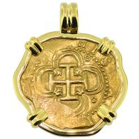 SOLD #9106 Philip II Two Escudo Doubloon Pendant; Please Explore Our Gold Coin Pendants For Similar Items.
