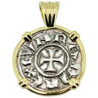 #9127 Crusader Cross Denaro Pendant