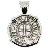 #9128 Crusader Cross Denaro Pendant