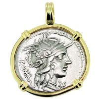 SOLD #9161 Roma and Victory Denarius Pendant; Please Explore Our Roman Pendants For Similar Items.