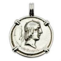 Roman Republic 90 BC, Apollo and Horseman denarius in 14k white gold pendant.