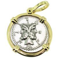 SOLD #9163 Janus & Roma Denarius Pendant; Please Explore Our Roman Pendants For Similar Items.