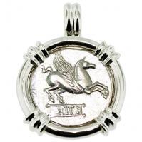 SOLD Pegasus and Bacchus Denarius Pendant; Please Explore Our Greek Pendants For Similar Items.