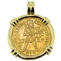 Dutch Ducat dated 1729 in 14k gold pendant, 1735 Dutch East Indiaman Shipwreck Zealand.
