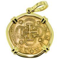 #9168 Philip II Two Escudos Doubloon Pendant
