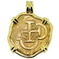 #9169 King Philip IV Four Escudos Pendant
